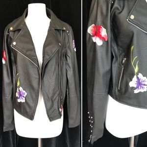 d0c6a87dd0 Forever 21 Jackets & Coats - PLUS SIZE studded faux leather jacket with  flowers